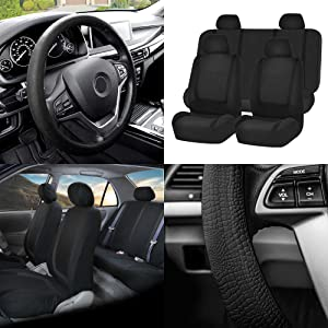 FH Group FB032114 Unique Flat Cloth Full Set Car Seat Covers w. Silicone Steering Wheel Cover, Solid Black Color- Fit Most Car, Truck, SUV, or Van