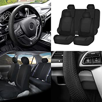 FH Group FB032GRAY114 Gray Unique Flat Cloth Car Seat Cover w. 4 Detachable Headrests and Solid Bench