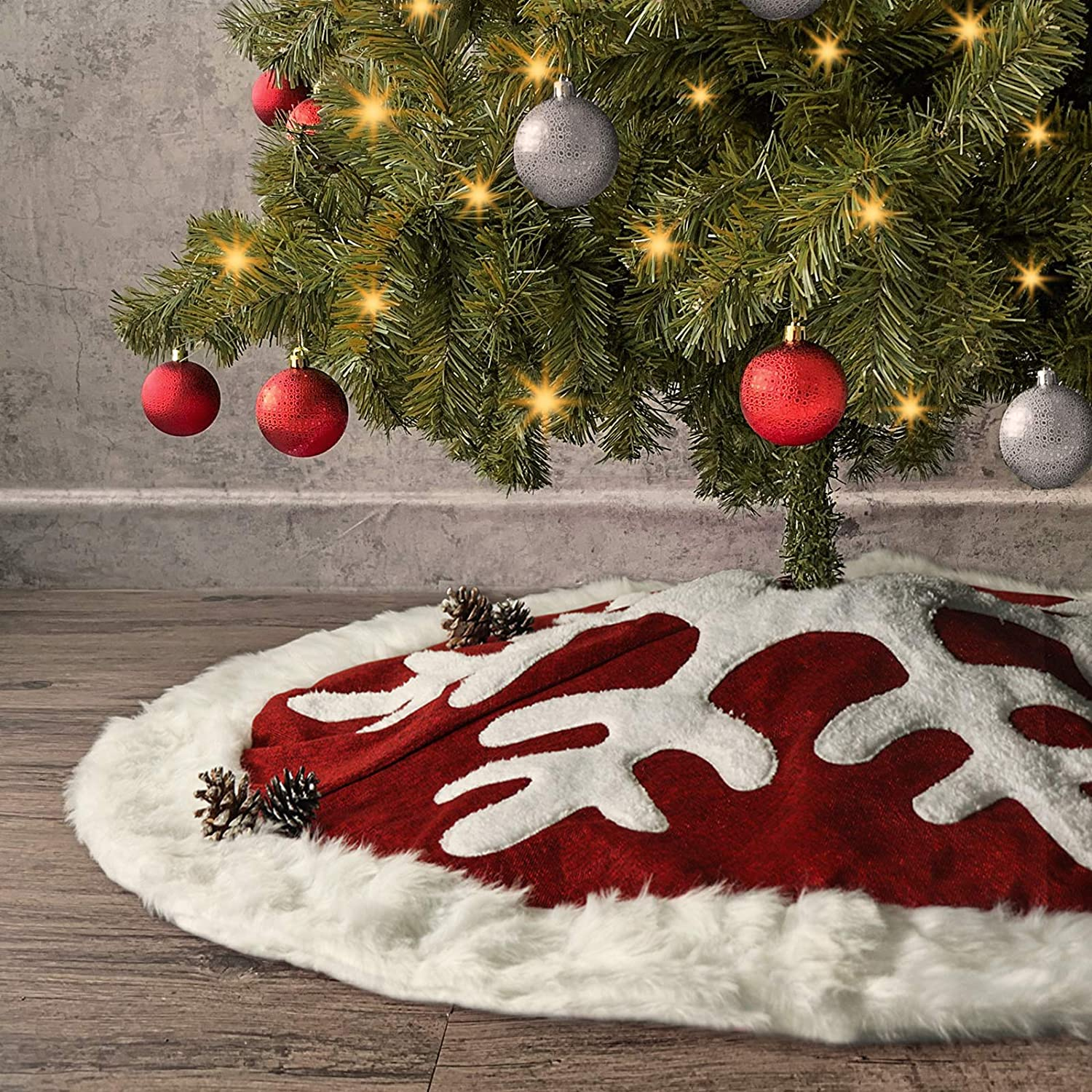 Ivenf Christmas Tree Skirt, 48 inches Luxury Red Burlap Snowflake with White Thick Plush Faux Fur Trim Skirt, Rustic Xmas Tree Holiday Decorations…