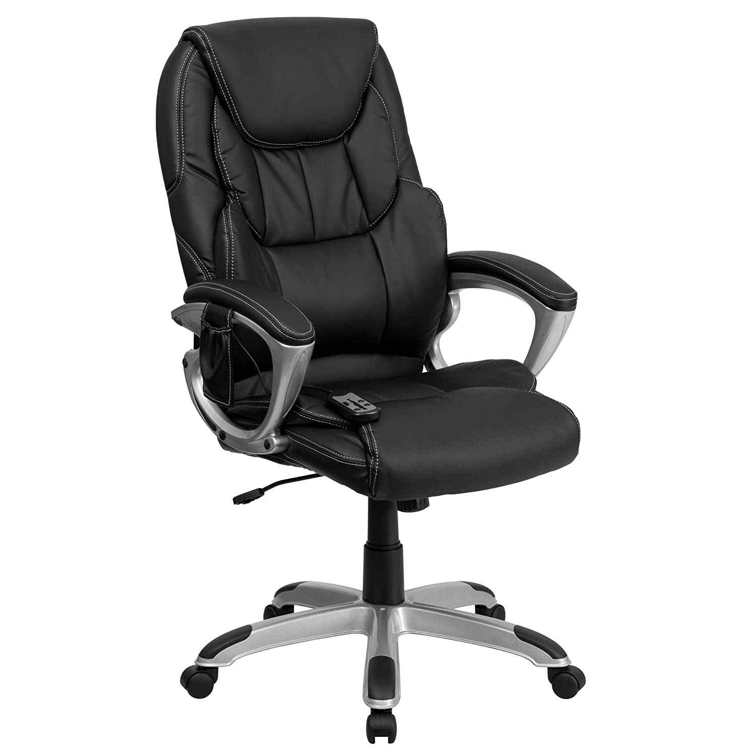 Flash Furniture High Back Massaging Black Leather Executive Swivel Chair with Silver Base and Arms BT-9806HP-2-GG