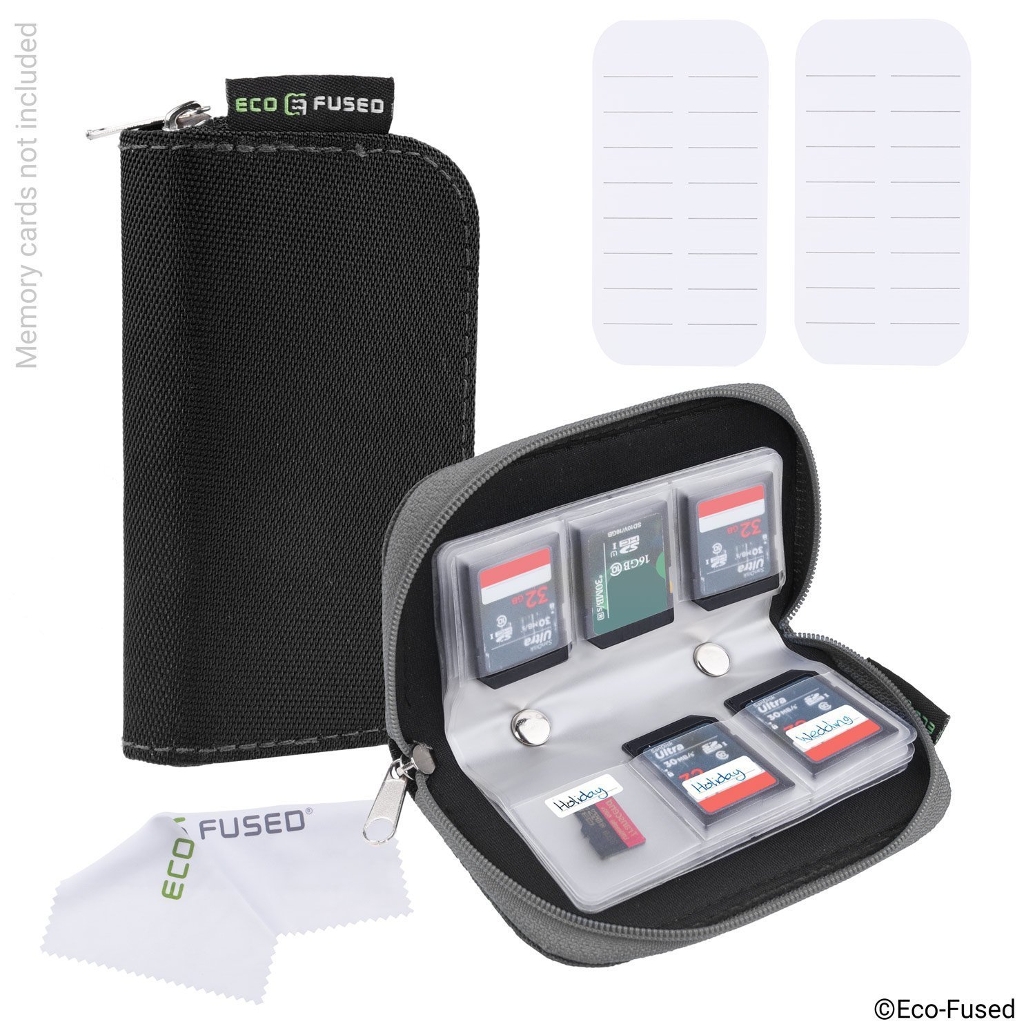 Memory Card Carrying Case - Suitable for SDHC and SD Cards - 8 Pages and 22 Slots - ECO-FUSED Microfiber Cleaning Cloth Included Mmo-PNSPH-329625241