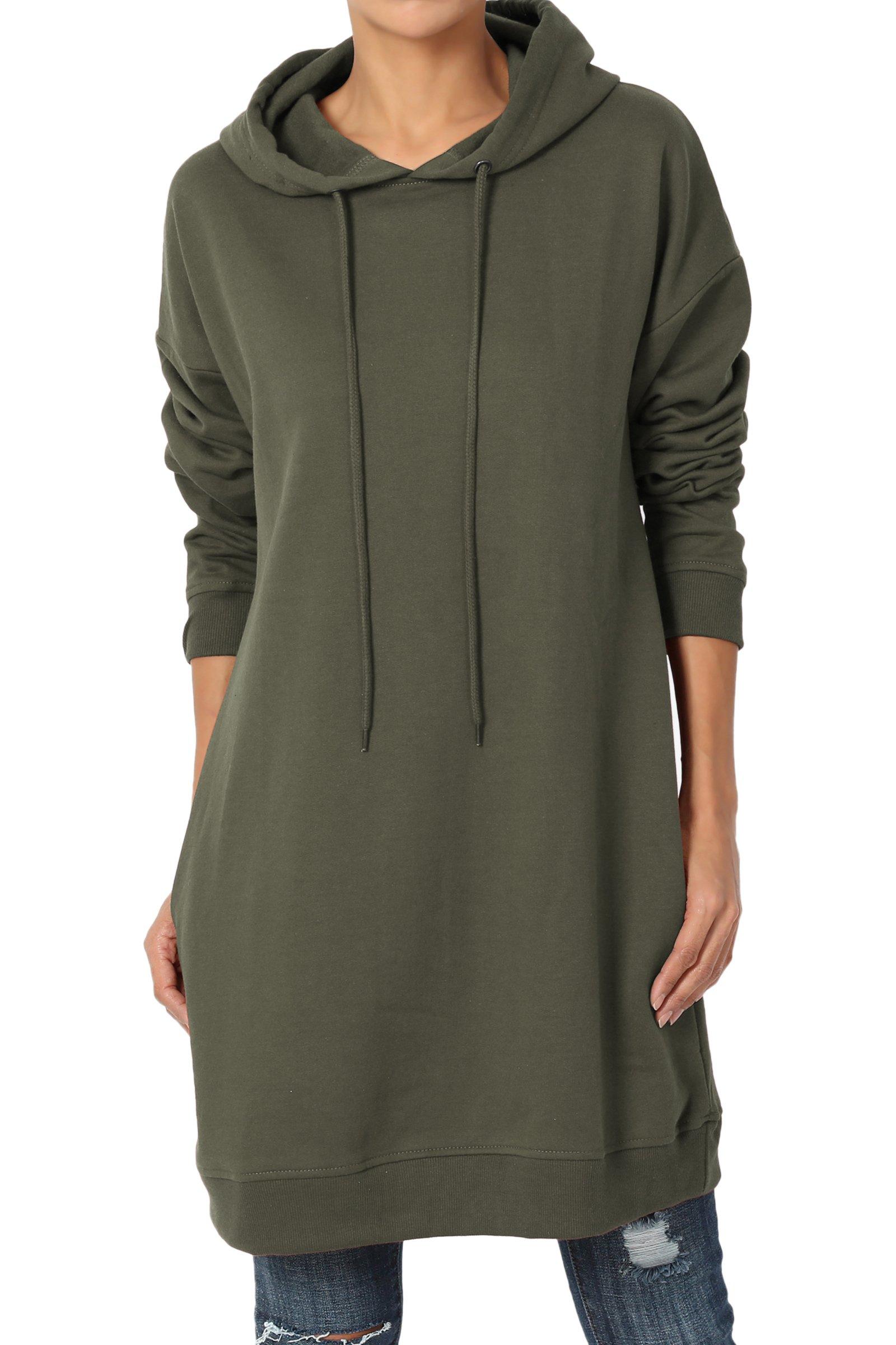TheMogan Women's Hoodie Loose Fit Pocket Tunic Sweatshirts Olive S/M