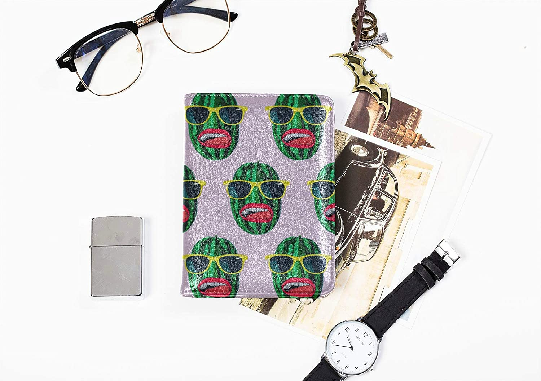 Passport Case Leather Fashion Creative Fruit Watermelon Passport Case Cute Multi Purpose Print Us Passport Cover Holder Travel Wallets For Unisex 5.51x4.37 Inch