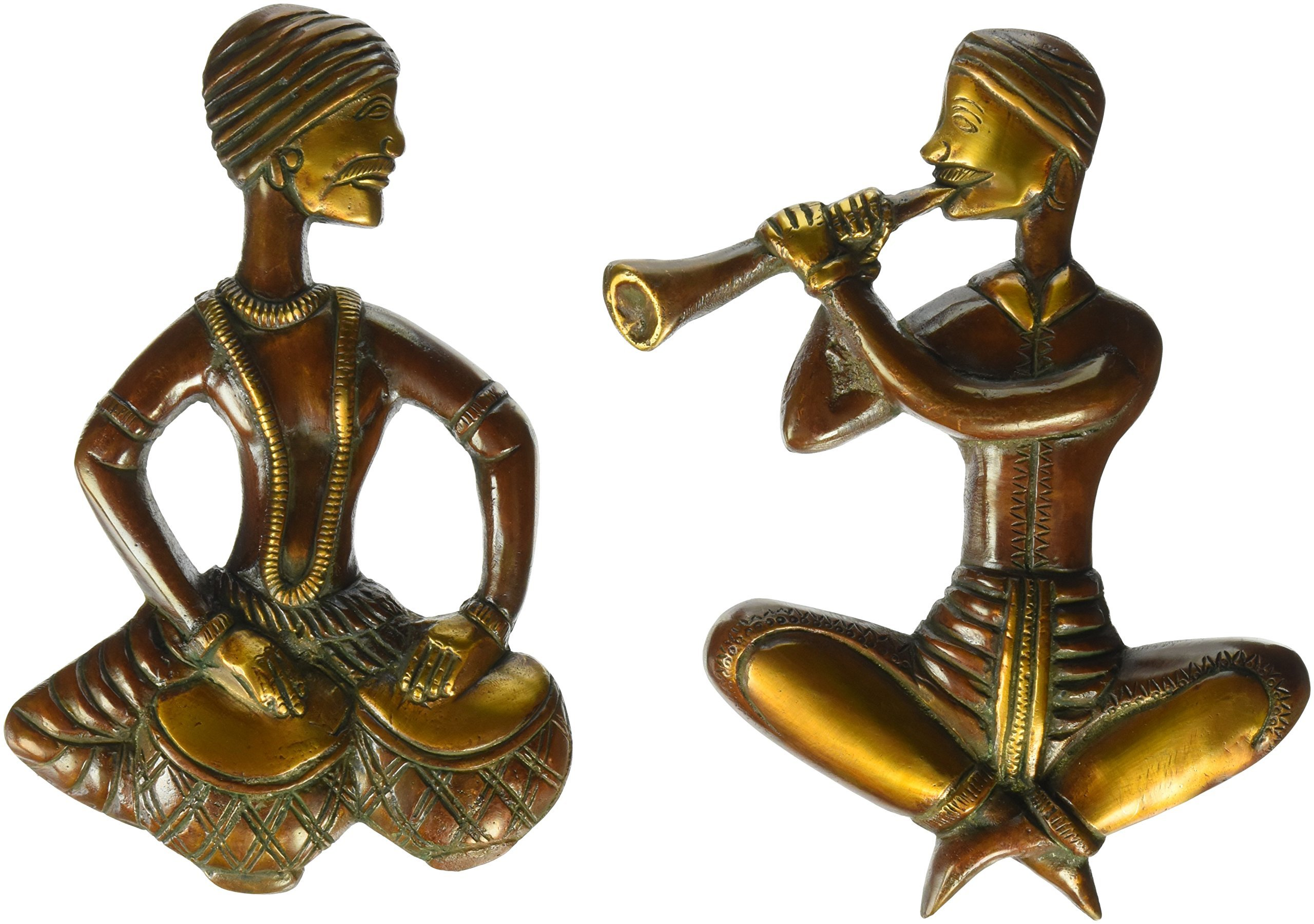 Aone India 9'' Pair of Musician Wall Hanging- Large Metal Wall Art Traditional Indian Hand Art Decor- Ethnic Home Plasma Sculpture + Cash Envelope (Pack Of 10)