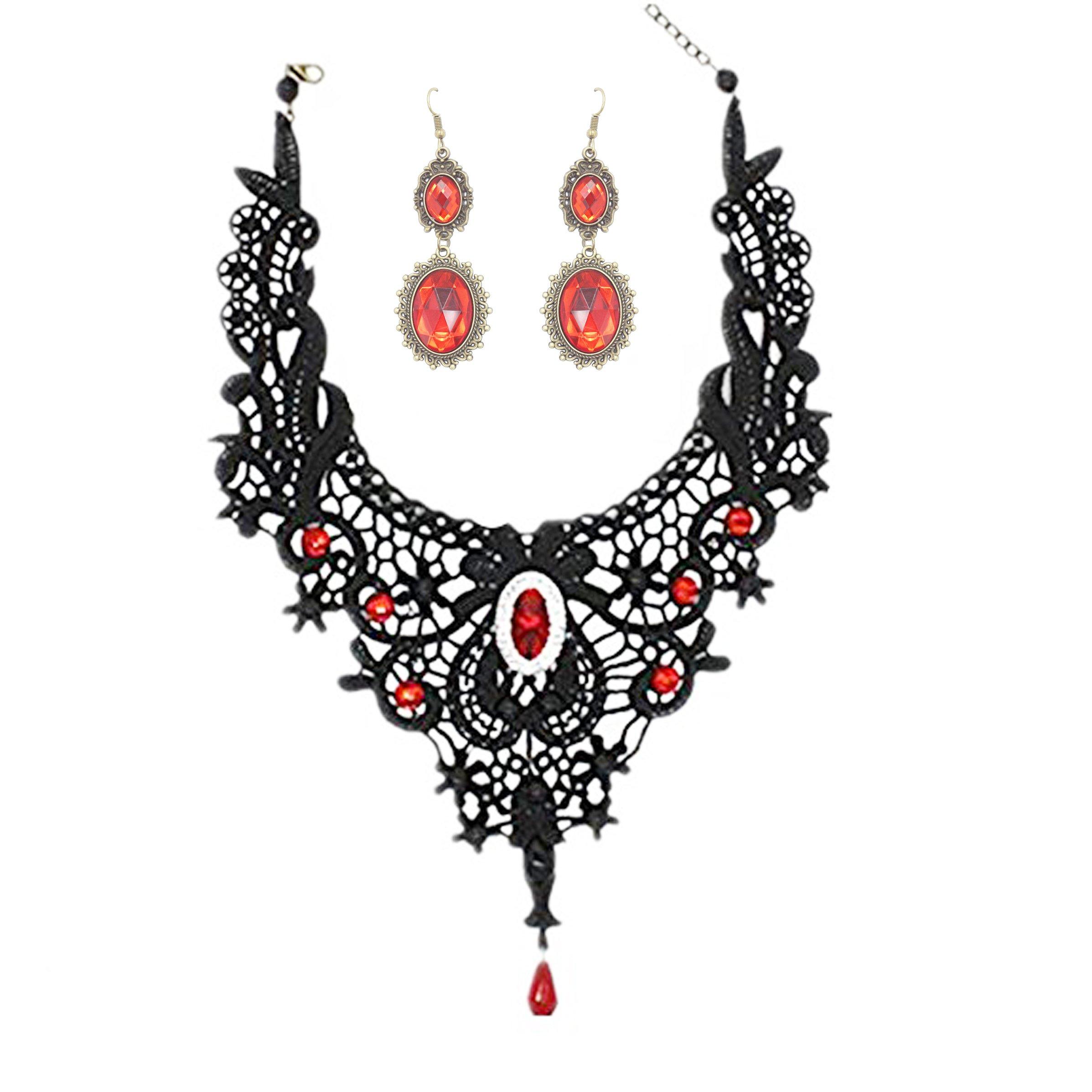 Meiysh Elegant Black Lace Gothic Lolita Red Pendant Choker Necklace Earrings Set (style 002)