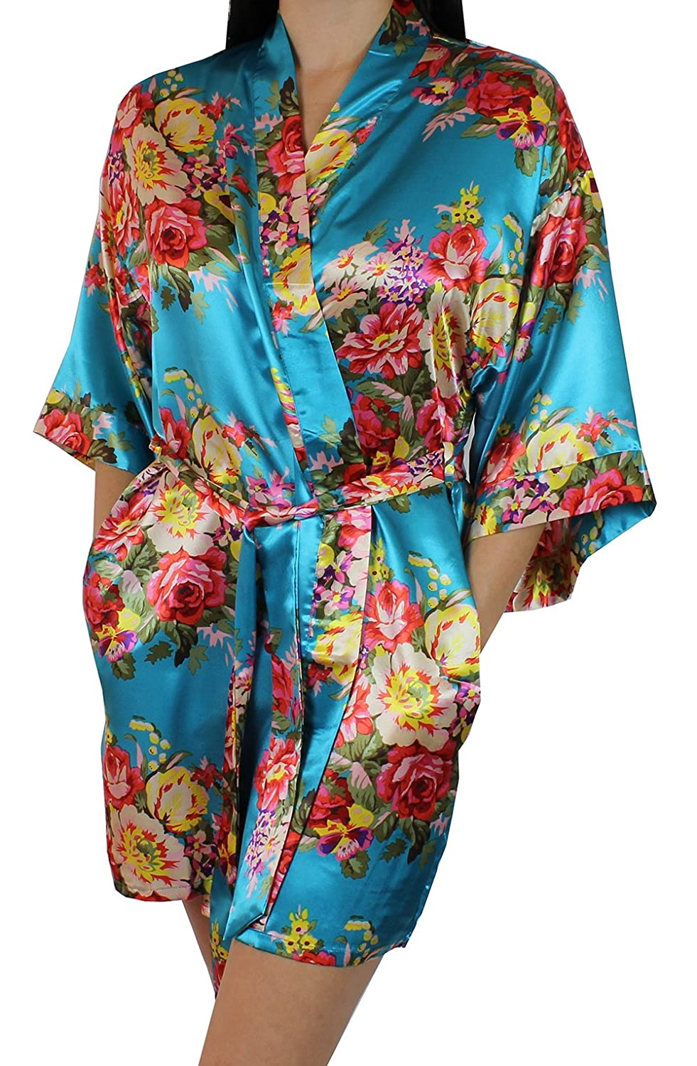 Ms Lovely Women's Floral Satin Kimono Short Bridesmaid Robe with Pockets - Silky Touch polyfloralrobe-parent