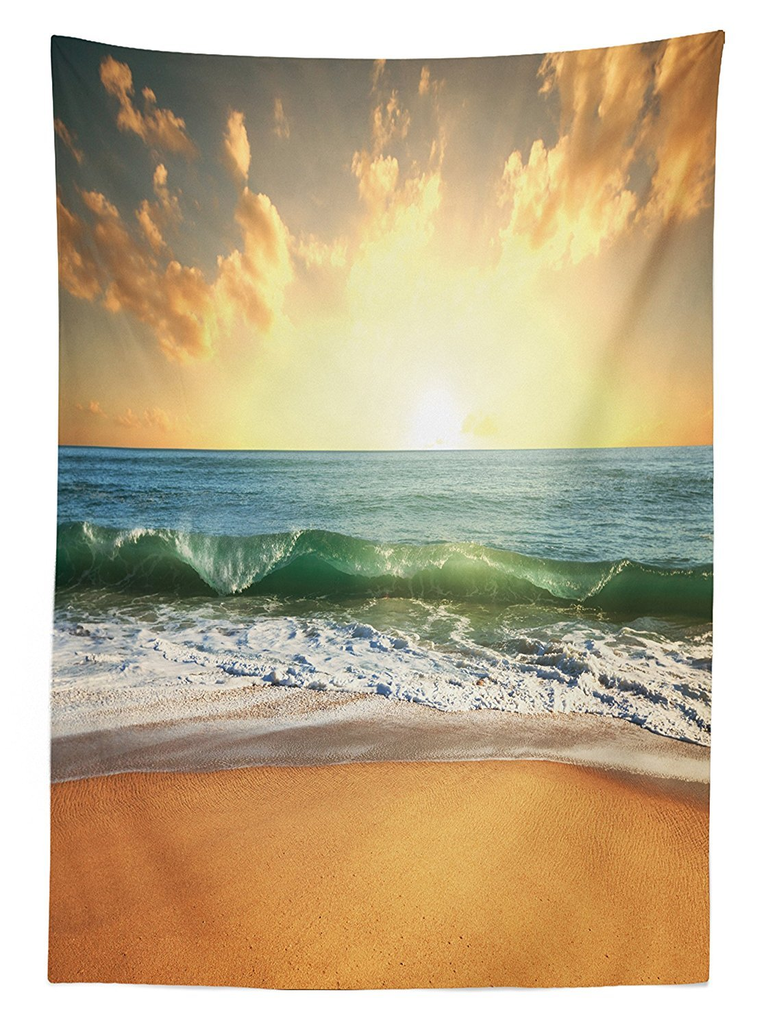 vipsung Ocean Decor Tablecloth Sunset at a Smooth Sandy Beach with Small Wave and Bubbles from The Sea Dining Room Kitchen Rectangular Table Cover