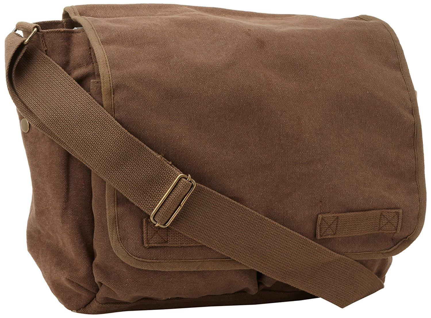 Brown Original Heavyweight Cotton Canvas Classic Heavyweight Military Messenger Bag with Army Universe Pin