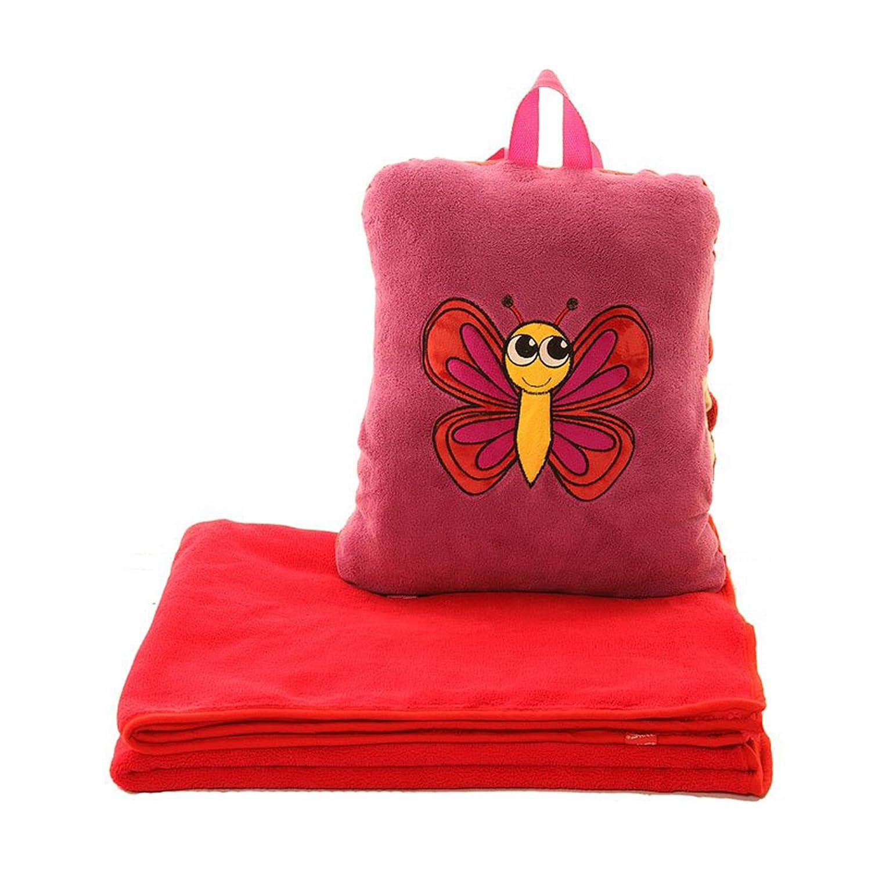 キッズ子供用 3in1 スリーインワン どうぶつ 3ウェイフリースリュックサック 毛布枕リュックサック バックパック/ブランケット/ピロー かばん ワンサイズ 蝶々 B00OC44SGM