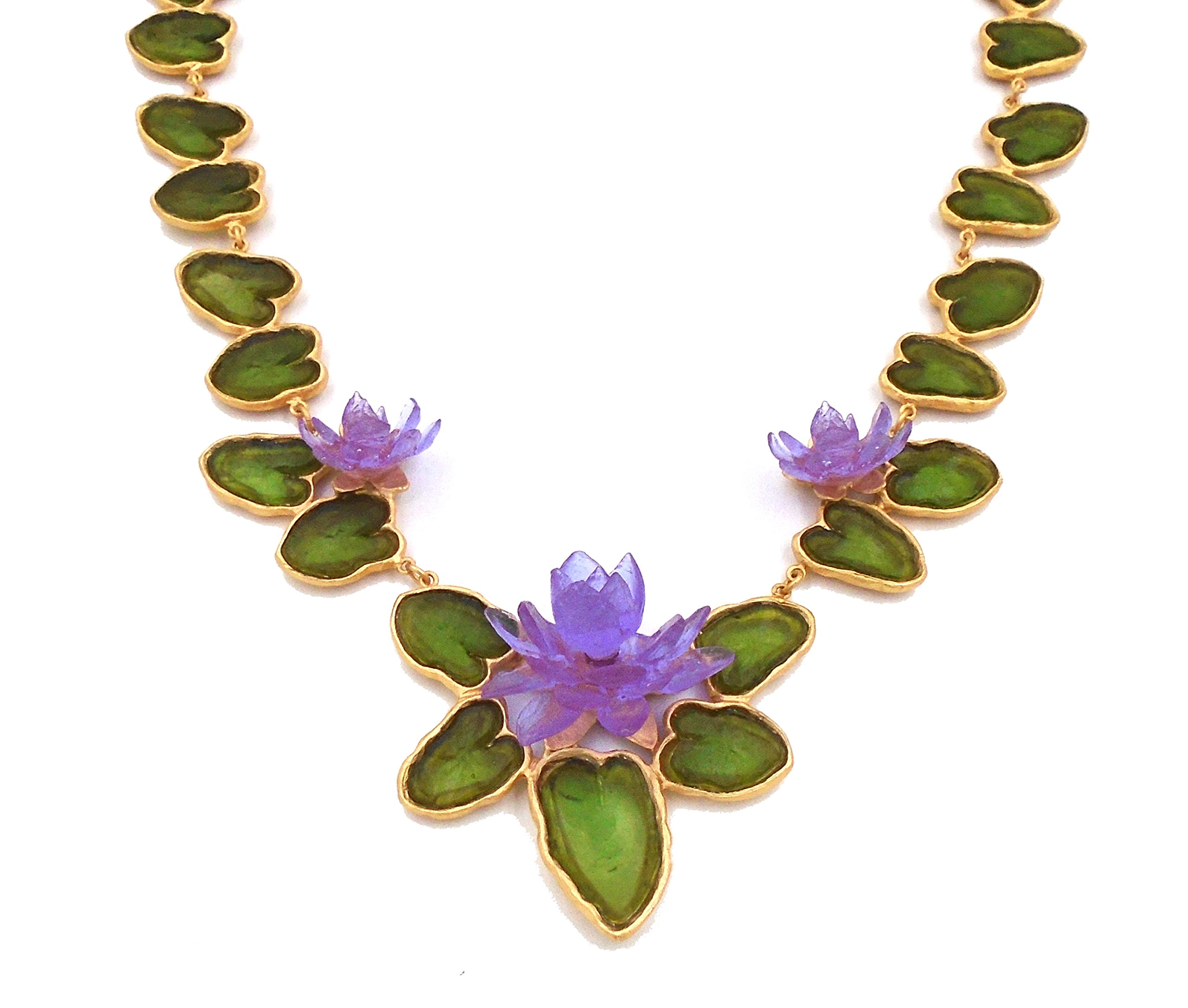 Michael Vincent Michaud- Glass ''Water Lily'' Statement Necklace by Michael Vincent Michaud