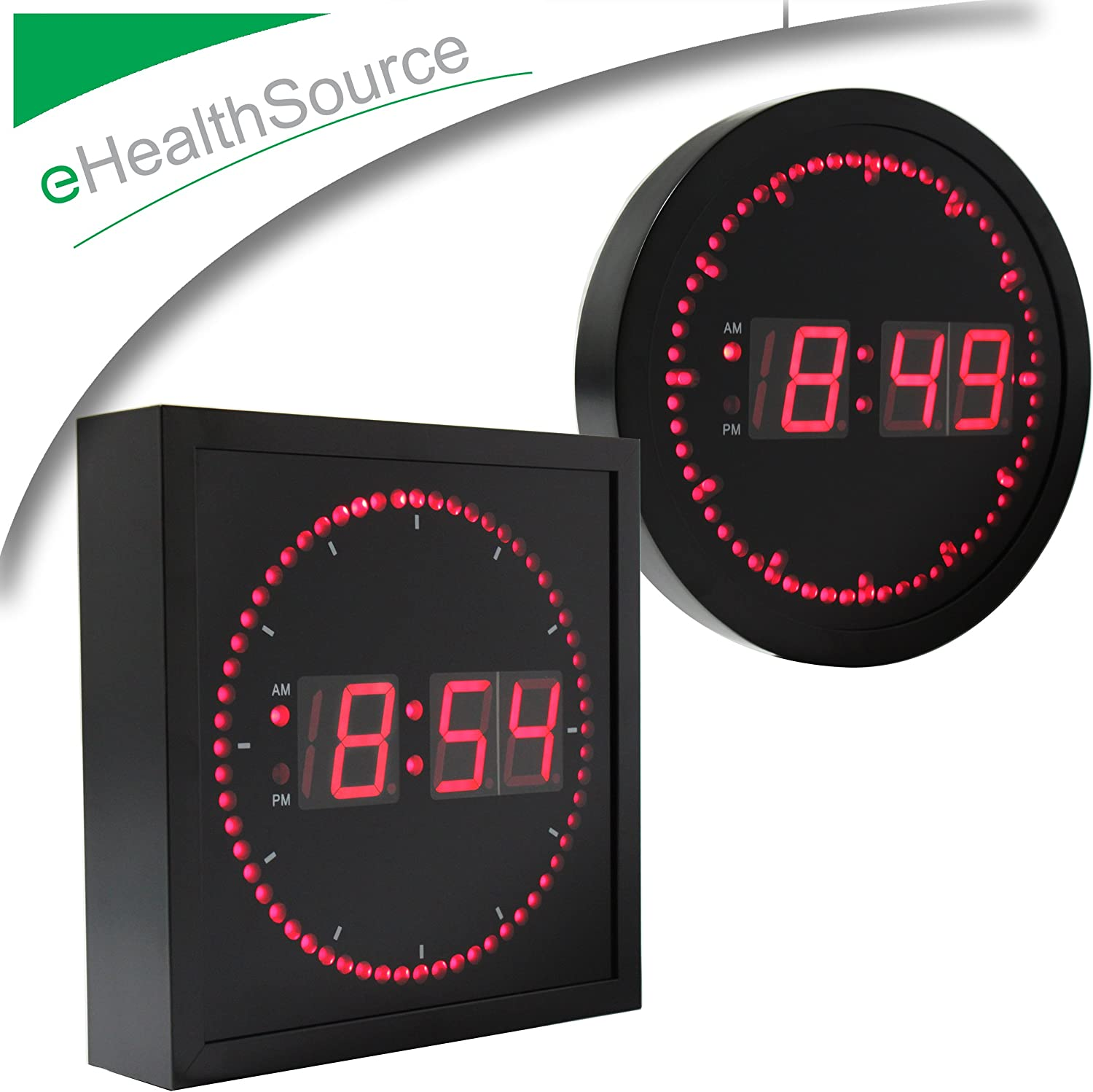BRG Precision Digital LED Wall Clock  Second Marker Circles Around Time RED NEW