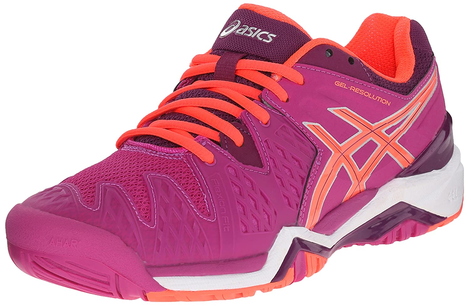 ASICS Gel Resolution 6 WIDE Women's Tennis Shoe White/Silver - WIDE version B00XYCNSBY 12 B(M) US|Berry/Flash Coral/Plum