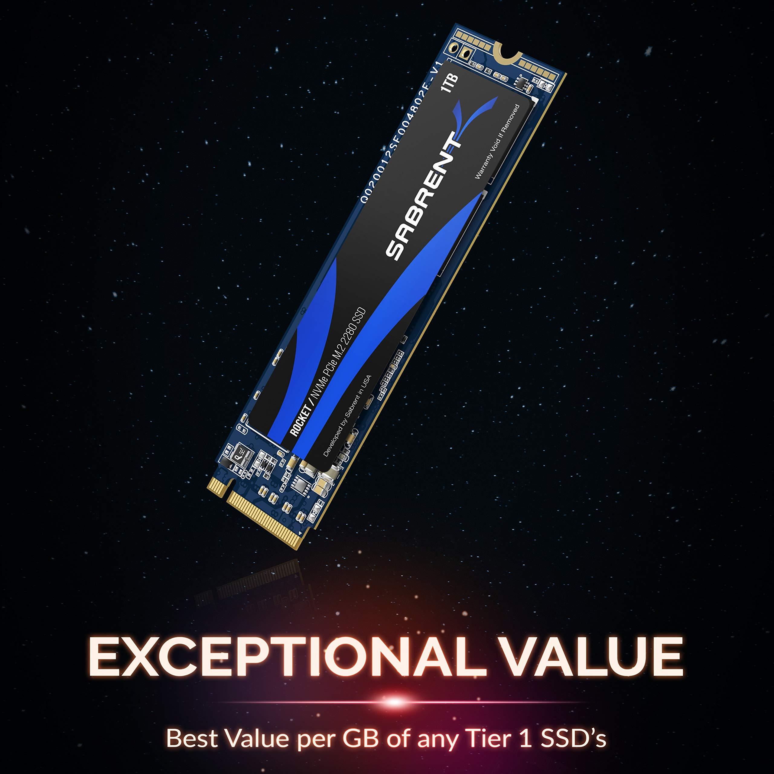 Sabrent 1TB Rocket NVMe PCIe M.2 2280 Internal SSD High Performance Solid State Drive (SB-ROCKET-1TB) by Sabrent (Image #3)