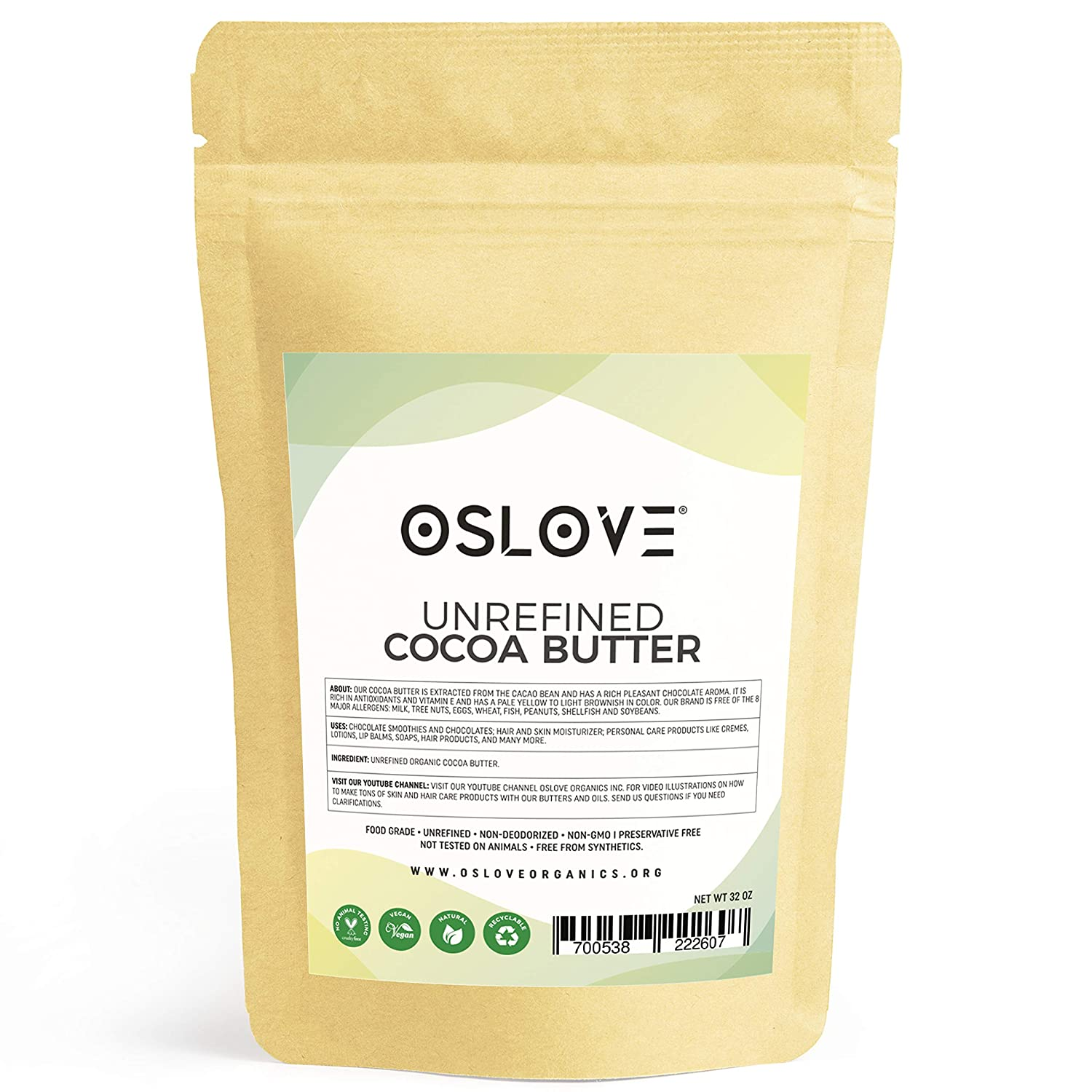 Organic Cocoa Butter FOOD GRADE 2LB by Oslove Organics - Raw, Non-Deodorized, Unrefined - Best Cocoa Butter for DIY body butter and delicous Home-made Chocolate