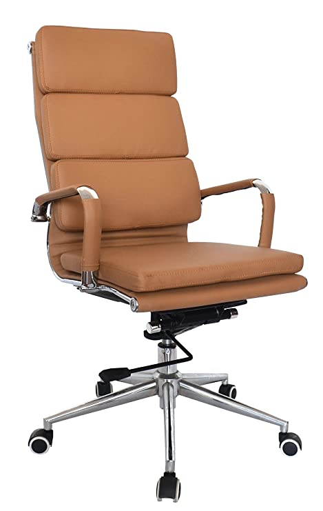 Fine Eames Replica High Back Office Chair Vegan Leather Thick High Density Foam Stabilizing Bar Swivel Deluxe Tilting Mechanism Pack Of 1 Camel Andrewgaddart Wooden Chair Designs For Living Room Andrewgaddartcom