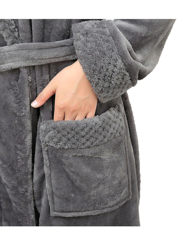 Vestaglia Lunga Donna in Pile con Cappuccio Accappatoio Lunga in Microfibra Invernale con Cintura Pigiama Flanella in Morbido Pile per Casa Spa Hotel