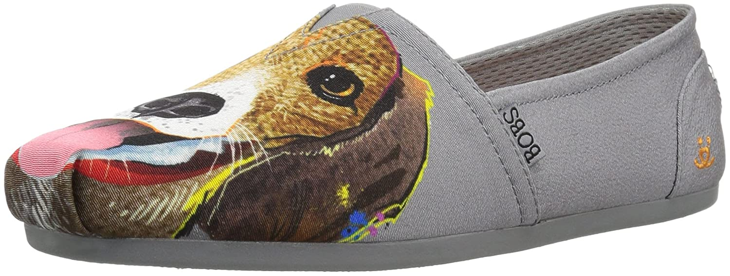 Skechers BOBS from Women's Bobs Plush-Breeds Ballet Flat B076DPXC9Q 5 B(M) US|Charcoal - Beagle Bud