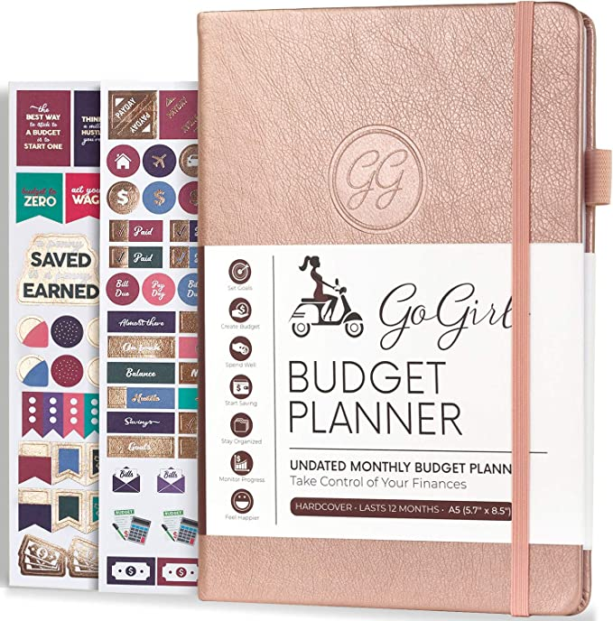 """Amazon.com : GoGirl Budget Planner - Monthly Financial Planner Organizer Budget Book. Expense Tracker Notebook Journal to Control Your Money. Undated - Start Any Time, A5-5.7"""" x 8.5"""", Lasts 1 Year - Rose Gold : Office Products"""