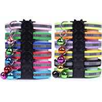 OLRIKE 12 Pcs Reflective Cat Collar with Bell,Breakaway Adjustable Collar Safe Durable for Cat