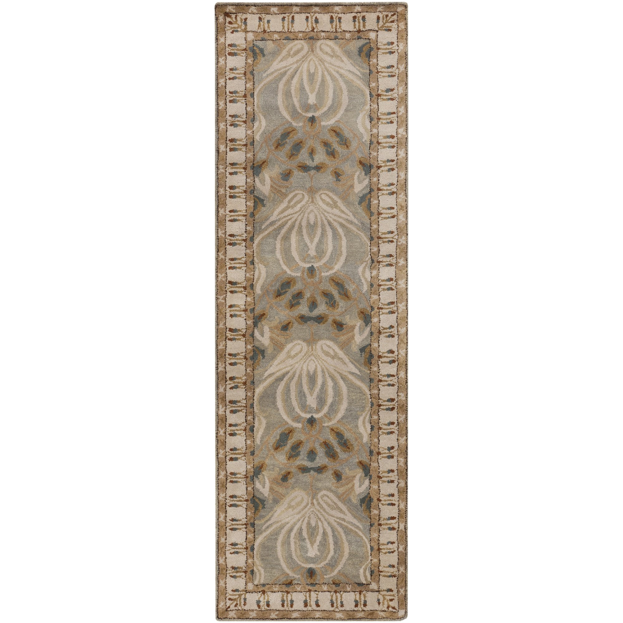 Surya Mentone MTO-7000 Classic Hand Tufted 100% New Zealand Wool Dove Gray 2'6'' x 8' Arts and Crafts Runner