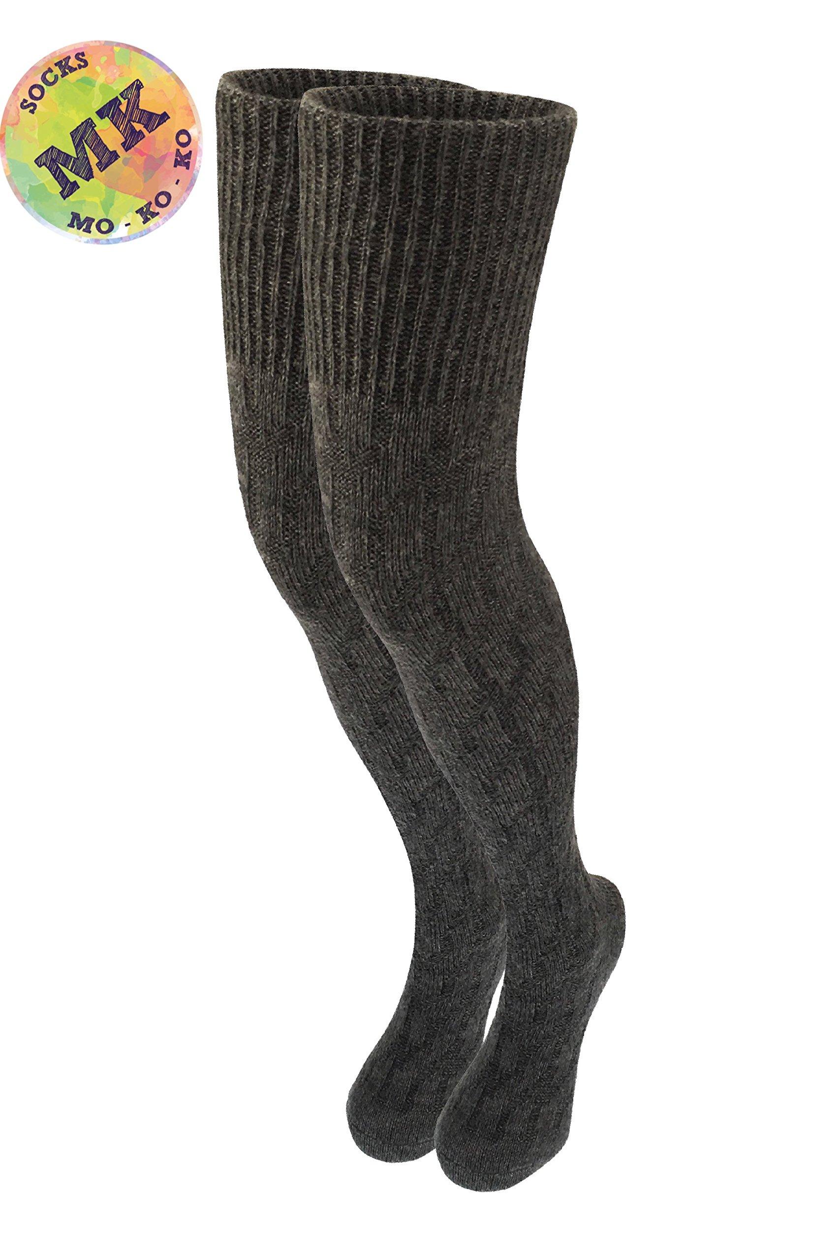 Knee High Socks - Merino Wool Womens Long Sexy Over Leg Warmer Crochet Thigh High Boot Socks, Extra Long Wool Socks Women - Size 6-10 (Grey)