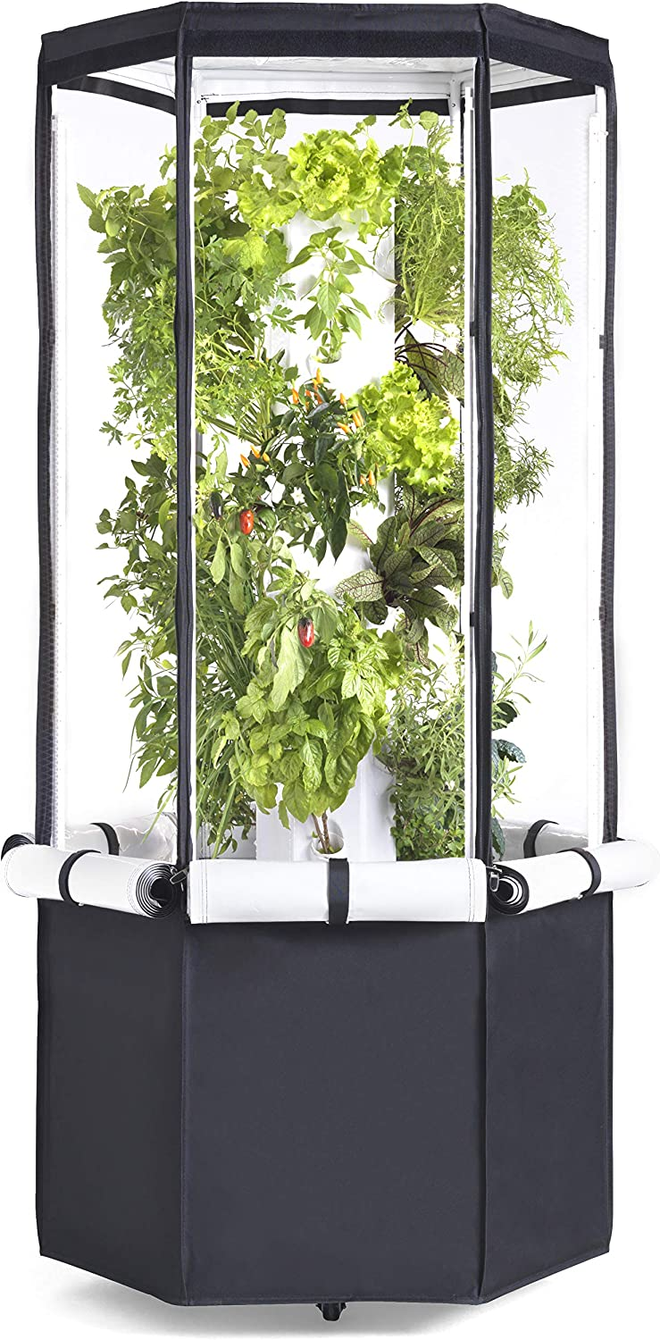 1500W Vertical Hydroponic Grow Kit Tower, Tent, LEDs, and Fan – Aerospring Indoor Herb Vegetable Garden – 27 Plant Grow System – Black