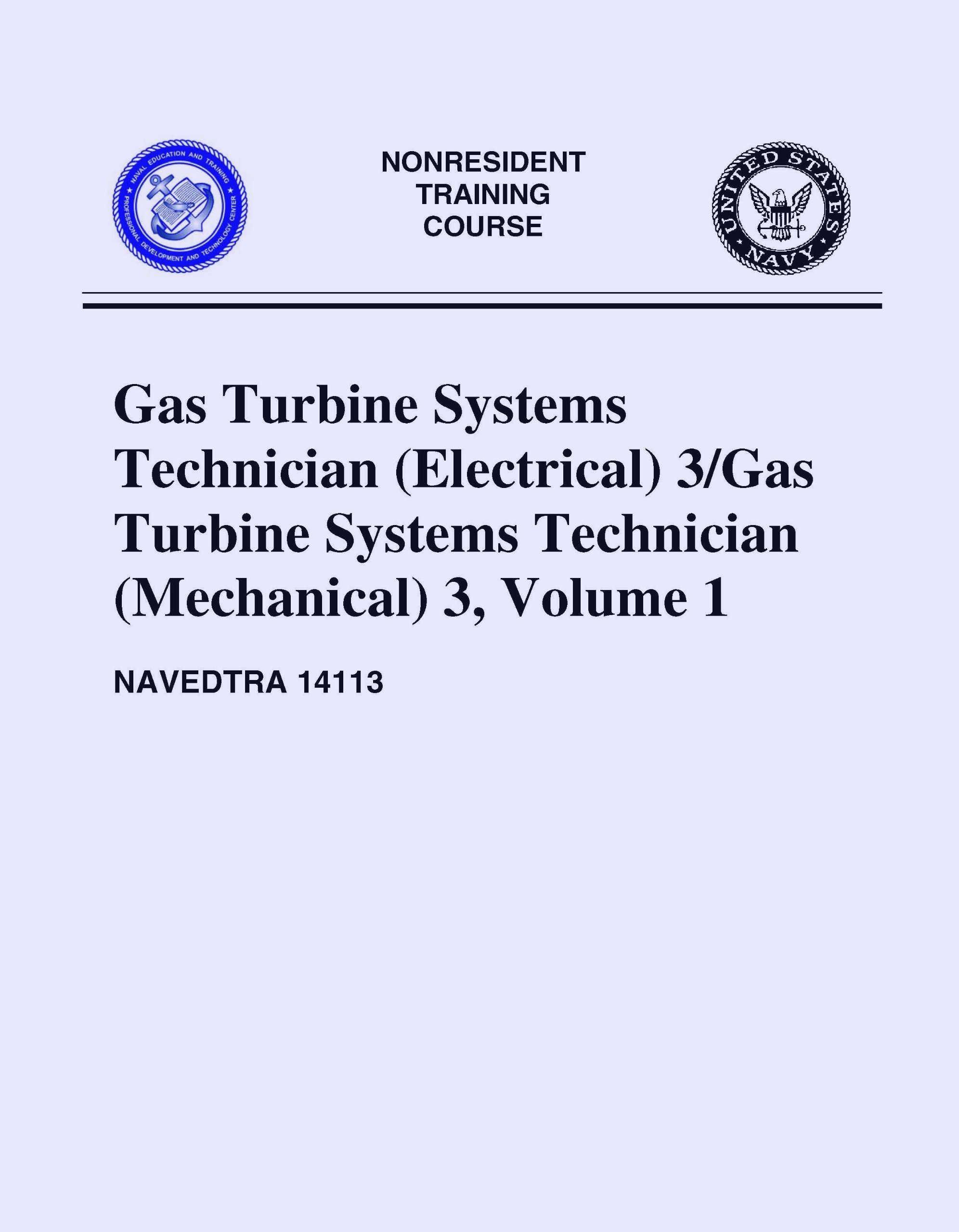 NAVEDTRA Gas Turbine Systems Technician Electrical 3 Gas