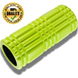 Premium Exercise Foam Roller 13 x 5.5 Inches Perfect for Deep Tissue Massage and Myofascial Release - Ideal for Muscle Pain Relief - Grid Design for Trigger Point Therapy - Includes FREE Exercise Guide