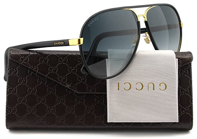97cced4a90b GUCCI GG2887 S Aviator Sunglasses Gold Black Leather w Grey Gradient ...