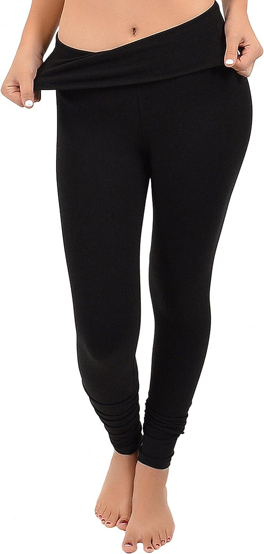 Stretch is Comfort Women's Teamwear Foldover Full Length Cotton Leggings