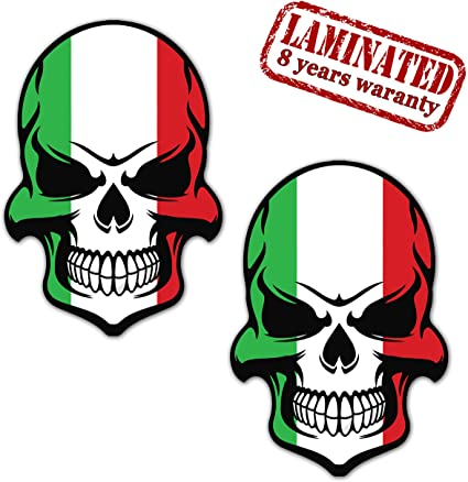 Skino 2 x Pegatinas Vinilo Adhesivos Skull Calavera Bandera Italia ...