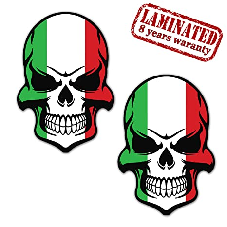 2 Stück Vinyl Aufkleber Autoaufkleber Stickers Skull Schädel Totenkopf Italien Flagge Fahne Stickers Auto Moto Motorrad Fahrrad Helm Tuning B 130