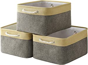 Locipe Basket Large Storage Baskets Set [3-Pack] Collapsible Fabric Basket Foldable Bins with Handles for Organizing Home Office Shelf Clothes Toys,Kid Room,Towels (Gold Grey,15.7L×11.8W×8.3H)