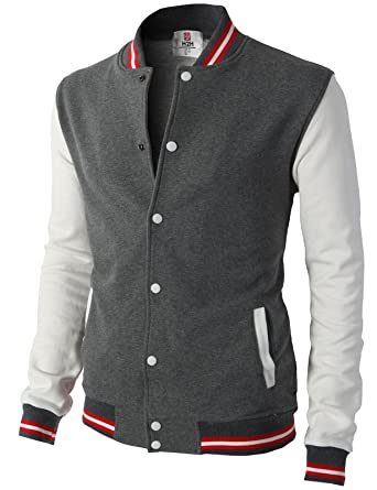 c5e9836e22ae H2H Mens Slim Fit Varsity Baseball Bomber Cotton Lightweight Premium Jacket  Cmoja082-charcoal Small