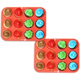 2 Pack - DecoBros 12-Cup Silicone Muffin Cupcake Baking Pan Mold, Cup:2.7oz. (Set of 2, Orange/Red)