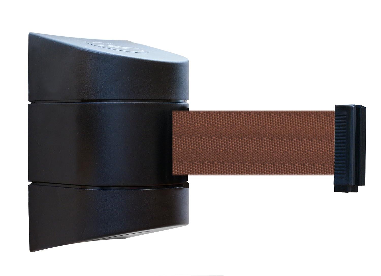 Tensabarrier 897-15-S-33-NO-N7X-C Standard Wall Mount No Custom Brown Webbing Standard Belt End 15 Black Caps