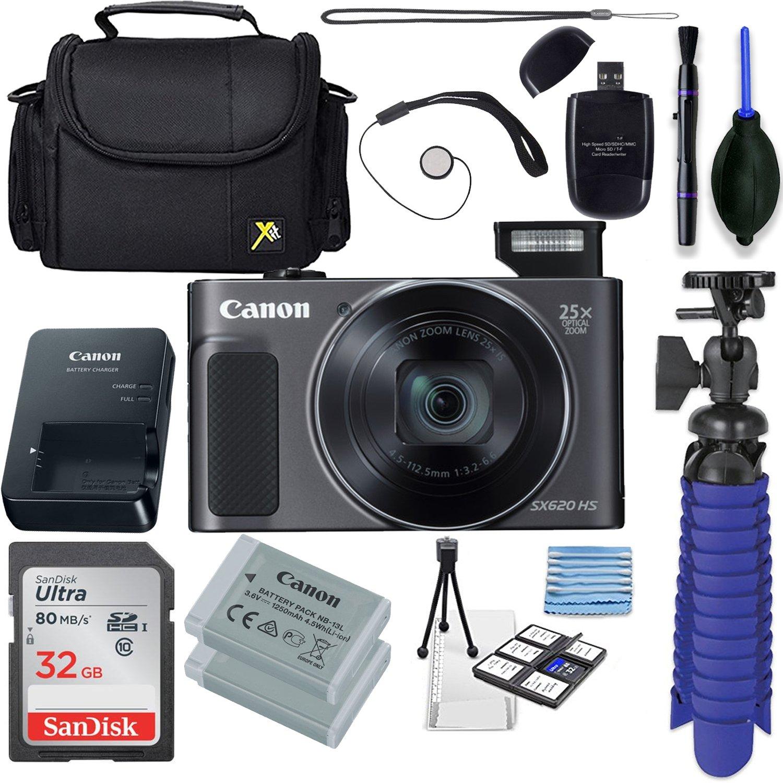 Canon Powershot SX620 (Black) + 32GB SD Memory Card Accessory Bundle