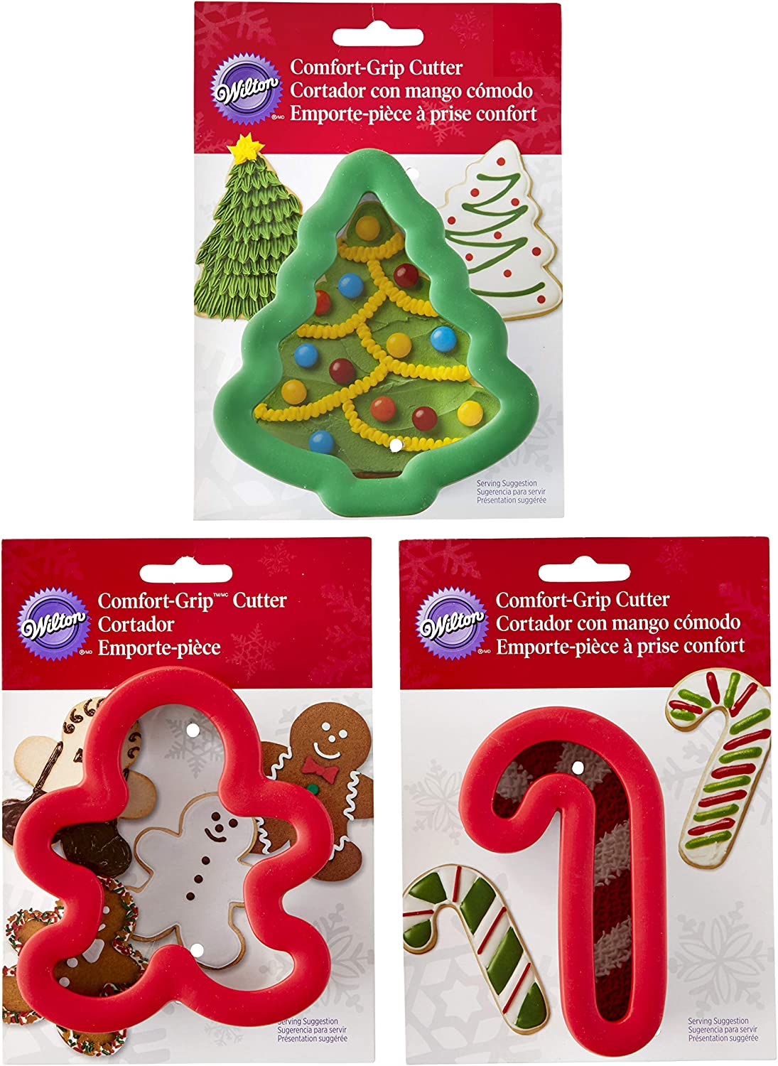 Wilton Holiday Comfort-Grip Christmas Cookie Cutter Set, 3-Piece