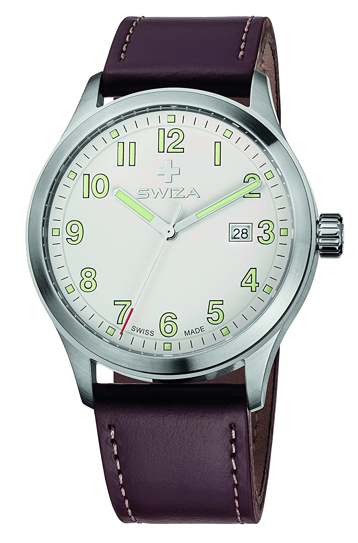 SWIZA Kretos Gent Quarzlaufwerk - GehÄuse Edelstahl 316L - GebÜrstet und Poliert - Braunes Band Luxus Uhr Made in Swiss