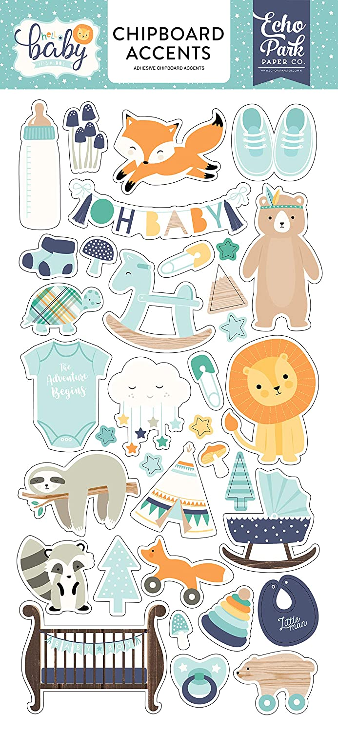 Echo Park Paper Company Hello Baby Boy 6x13 Accents chipboard Orange Navy Yellow Teal