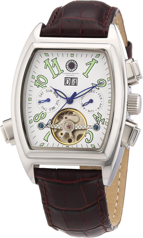 Constantin Durmont Tonneau - Reloj analógico de caballero automático con correa de piel marrón - sumergible a 30 metros