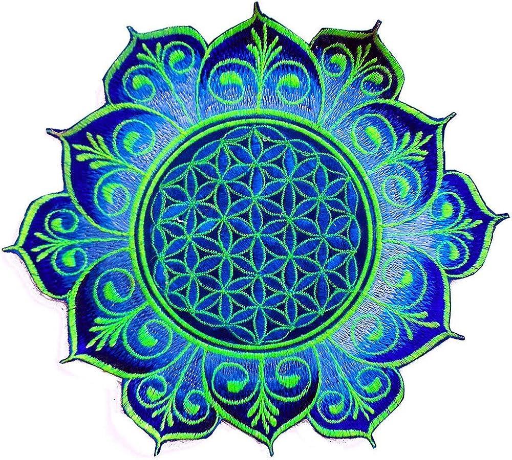 ImZauberwald Flower of Life vivigade 20 cm, black light active, blue fractal Mandala holy geometry