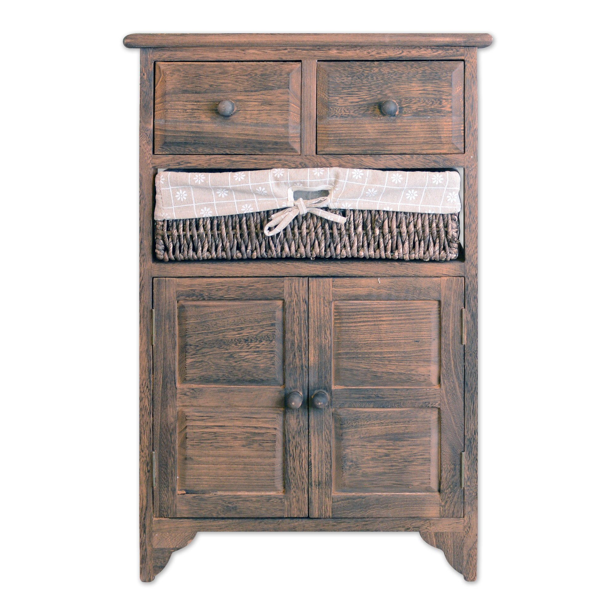 TransSino Treasures 27'' Wooden Side Cabinet with 2 Doors 2 Drawers and 1 Rattan Basket in Antique Walnut Finish