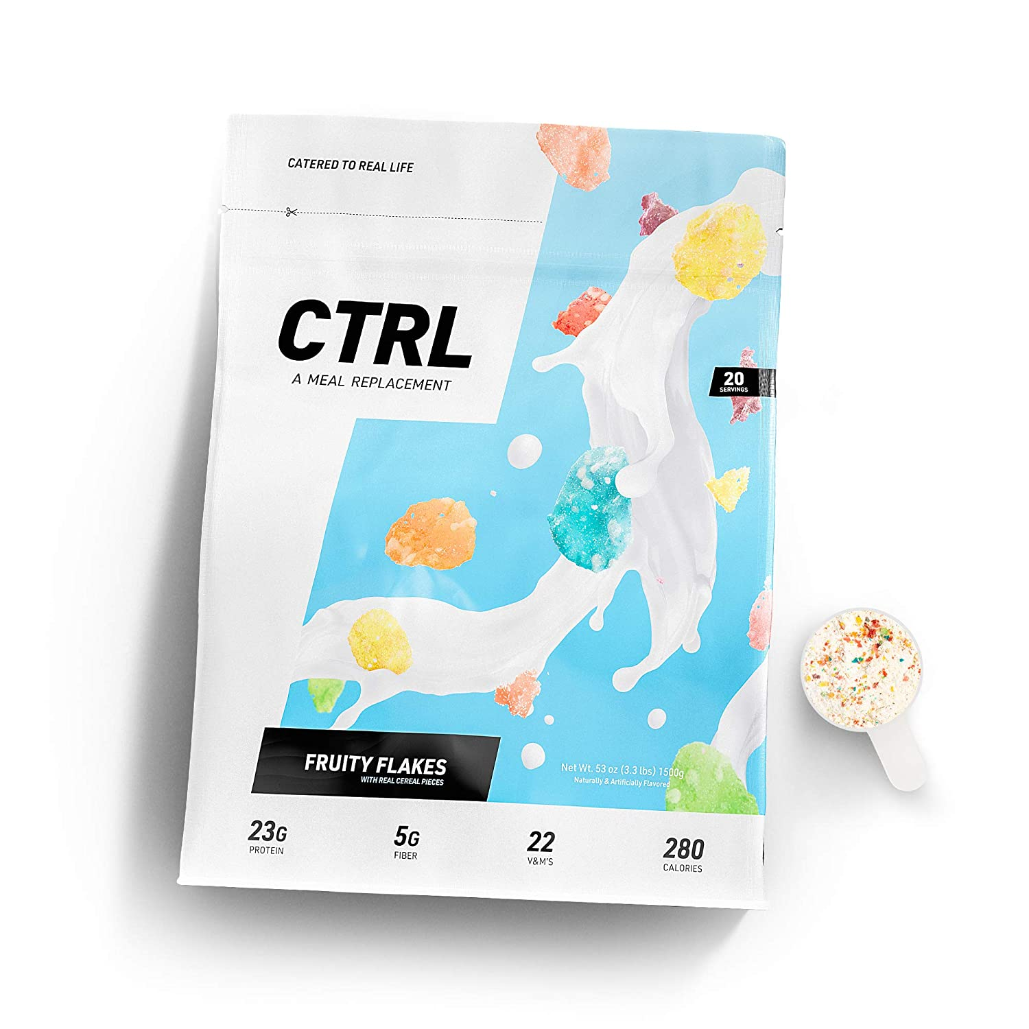 CTRL Meal Replacement Shake with Real Cereal Pieces - Fruity Flakes - 40 Scoops Packed with Essential Nutrients, Including 23g of Protein, 5 Grams of Fiber, 22 Vitamins and Minerals
