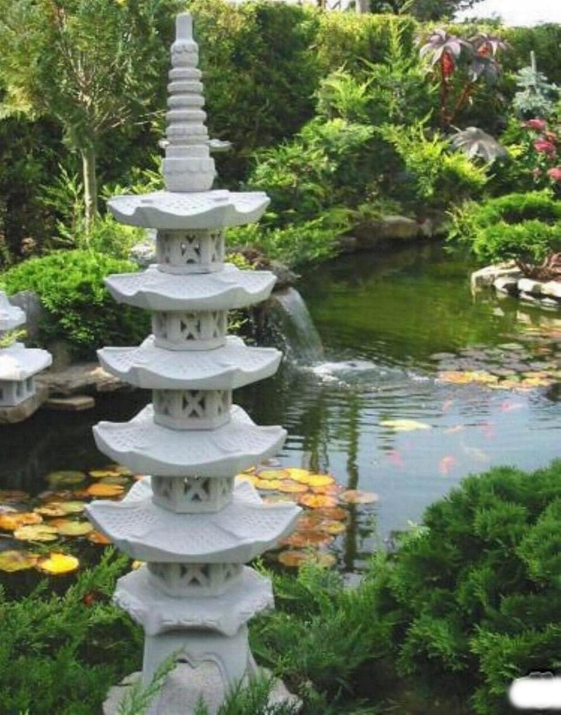 MUI Jardín Decoración Pagoda 5 pisos piedra Pagoda Estanque Garden Decor: Amazon.es: Jardín