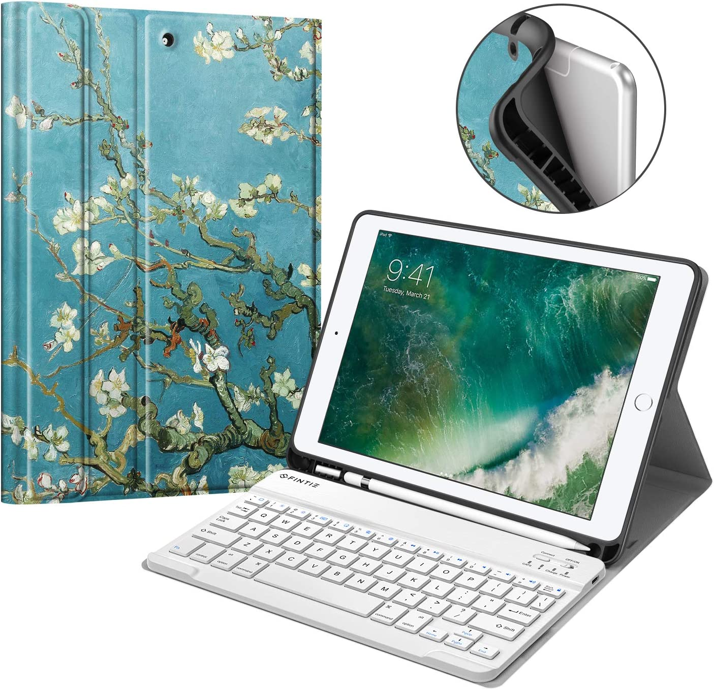 Fintie Keyboard Case for iPad 9.7 2018 with Built-in Pencil Holder, [SlimShell] Soft TPU Back Protective Cover w/ Magnetically Detachable Wireless Bluetooth Keyboard for iPad 6th Gen, Blossom