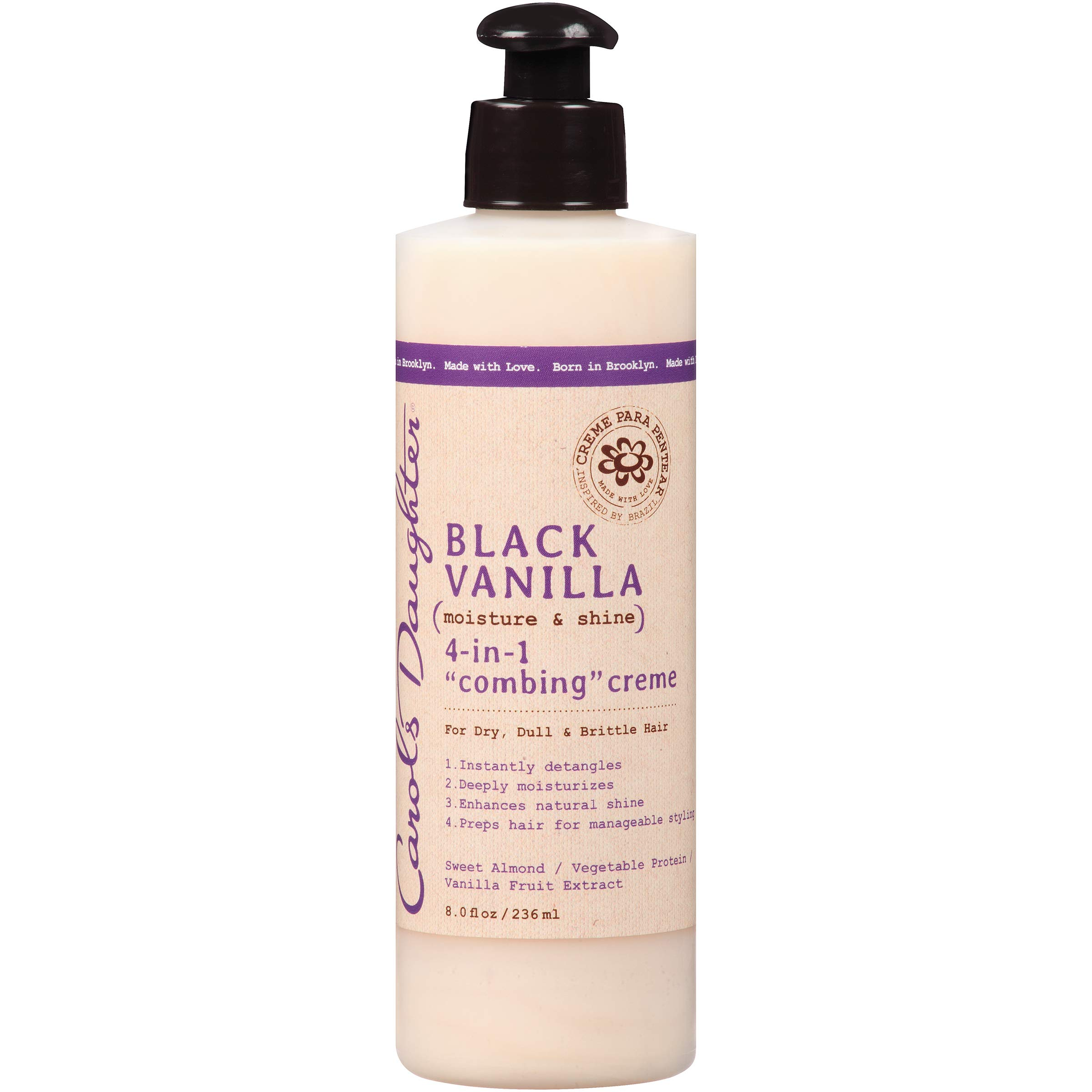 Carol's Daughter Black Vanilla Moisture & Shine 4 in 1 Combing Creme for Dry Hair and Dull Hair, with Sweet Almond Oil and Vanilla Fruit Extract, Hair Detangler, 8 fl oz