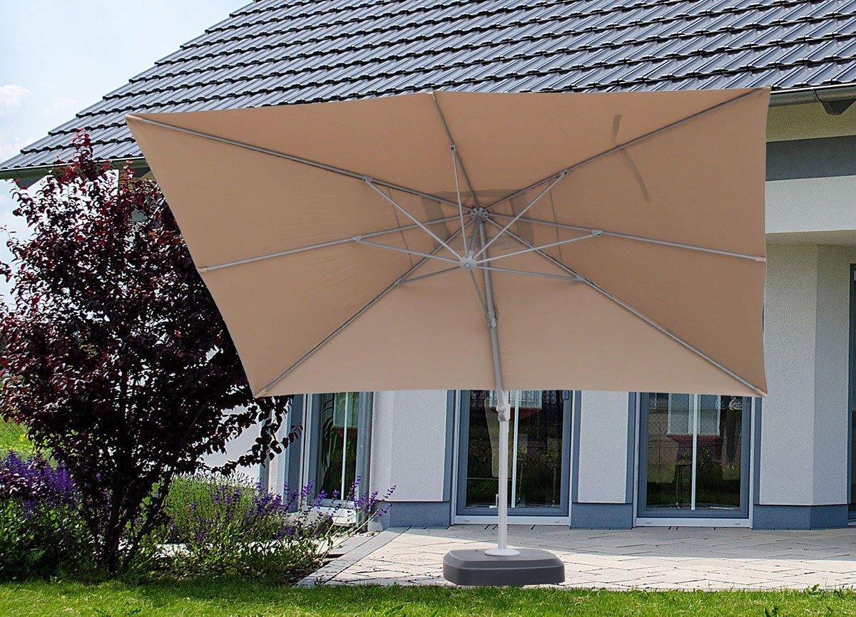 Ampelschirm 300x400 Polyester taupe Kurbel Sonnenschirm Terrassenschirm Garten