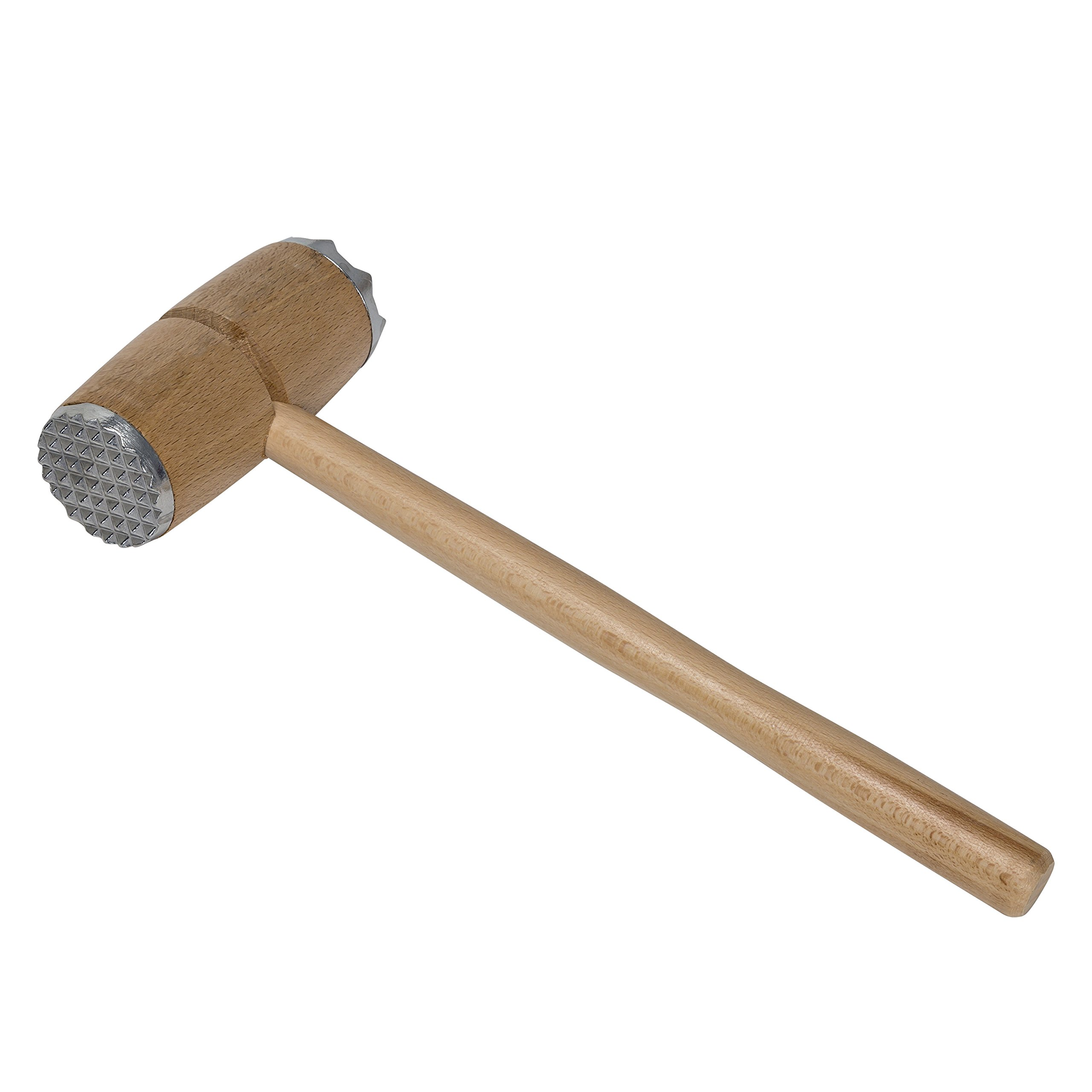 Honey-Can-Do 6012 Beech Wood Meat Tenderizer with Aluminum Heads, 12-Inches