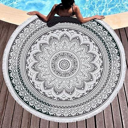 IMEI Indio Mandala Ronda Playa Manta con Flecos, Suave Boho Playa Manta Toalla, tapete